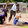 New Washington senior Coari Robertson is called out at third base during the seventh inning of their game against Lanesville in the Lanesville sectional tournament on Tuesday. The out ended the game and the Eagles won 1-0. Staff photo by Christopher Fryer