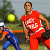Jeffersonville High School's Kayleigh Thomas pitches during their away game against Silver Creek High School on Friday evening. Jeffersonville won the game, 6-3. Staff photo by Christopher Fryer