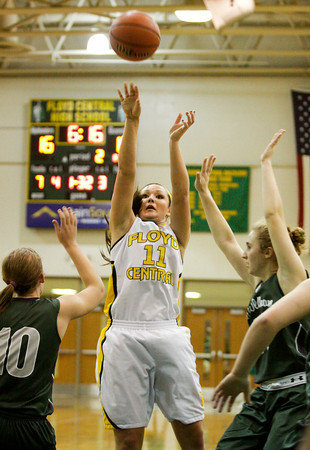 Floyd Central forward Madison Kaiser pulls up for a shot during their game against South Oldham at Floyd Central on Wednesday. Staff photo by Christopher Fryer