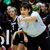 Providence head coach Terri Purichia talks to her players during their Class 2A state championship match against Wapahani at Worthen Arena in Muncie on Saturday. Wapahani won the match in four sets. Staff photo by Christopher Fryer