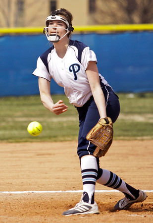 Providence's Sierra Collett pitches during the first inning of their game against Loogootee at the Providence Invitational in Clarksville on Saturday. Staff photo by Christopher Fryer