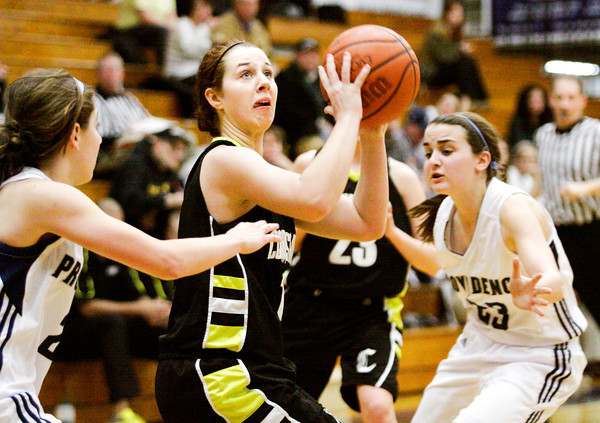 Clarksville's Abigail Hurtgen drives to the basket during their game at Providence on Friday. Staff photo by Christopher Fryer