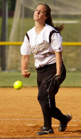 Henryville sophomore Ashtyn Kaskie pitches during their game against Providence at the Eastern High School sectional tournament on Monday. Providence won the game, 10-9. Staff photo by Christopher Fryer