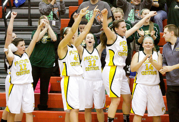 Floyd Central celebrates their 62-48 victory over Jeffersonville in the New Albany sectional tournament on Tuesday. Staff photo by Christopher Fryer