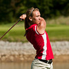 Jeffersonville junior Madison Kane tees off on the ninth hole at Covered Bridge Golf Club during the Hoosier Hills Conference Golf Tournament in Sellersburg on Saturday. Staff photo by Christopher Fryer