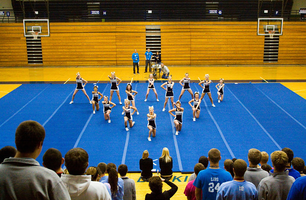 The Providence cheerleading squad performs their routine during a school pep rally on Friday morning in Clarksville. The squad will compete in the Indiana Cheer Championship Varsity State Finals at Southport High School in Indianapolis this afternoon. Staff photo by Christopher Fryer