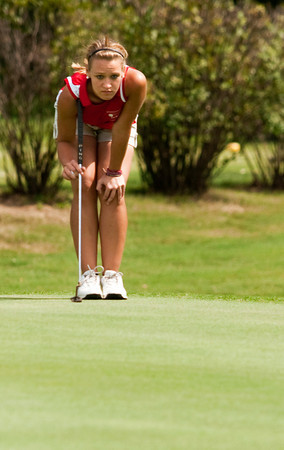 Jeffersonville's Madison Kane studies her shot on the 17th green during the Indiana High School Athletic Association Girls Sectional golf tournament at Valley View Golf Club on Saturday. Staff photo by Christopher Fryer