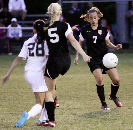 New Albany senior Phoebe Bauer attempts to control the ball during the first half of their away game against Providence on Tuesday. Staff photo by Christopher Fryer