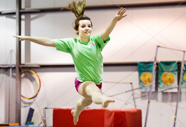 Jeffersonville junior gymnast Kaylee James works on her floor routine during team practice at SIGS Sportsplex in New Albany on Wednesday. Staff photo by Christopher Fryer