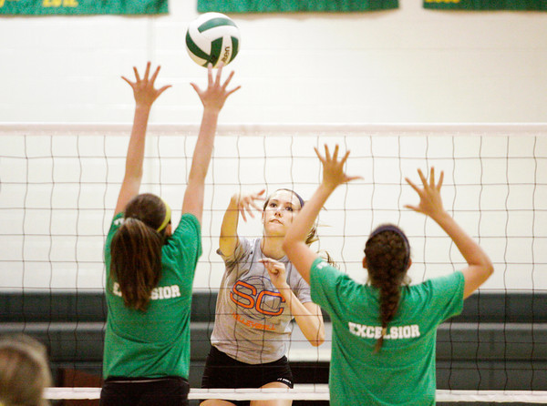 Silver Creek senior Danni Densford takes a shot during their scrimmage at Floyd Central on Wednesday. Staff photo by Christopher Fryer