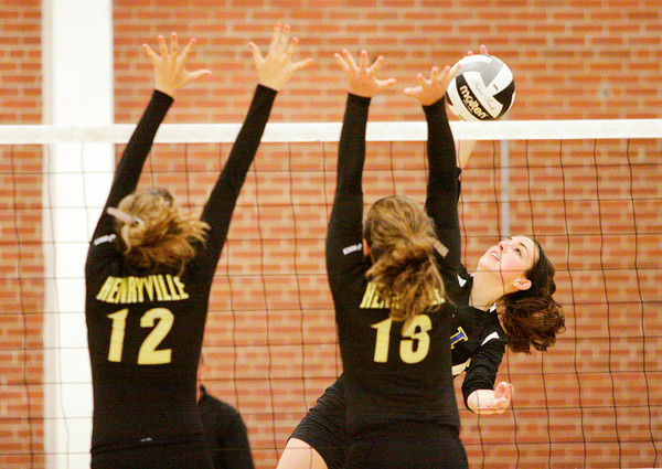 Christian Academy senior Emily Haworth goes up for a shot during their game at Henryville on Tuesday. Staff photo by Christopher Fryer