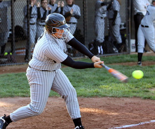 Clarksville batter Kierstein Hall connects for a single against Silver Creek on Thursday. Staff photo by C.E. Branham