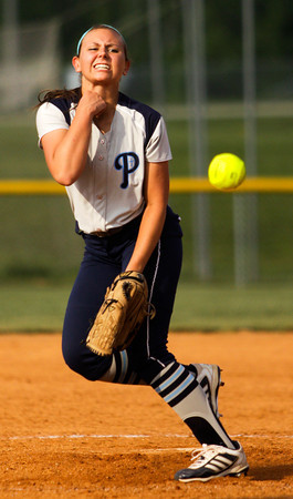 Providence senior Kristan Markland pitches during their game against Henryville at the Eastern High School sectional tournament on Monday. Providence won the game, 10-9. Staff photo by Christopher Fryer