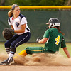 Providence High School second baseman Morgan Boone looks to first base after tagging out Floyd Central High School shortstop Taylor Batliner during the fourth inning of their game at Floyd Central on Friday evening. Floyd Central won the game 7-0. Staff photo by Christopher Fryer