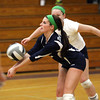 Providence senior libero Kylie Flanagan digs a serve in the Lady Pioneers 2A regional match with Southwestern Tuesday night. Staff photo by C.E. Branham
