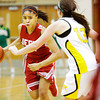 Jeffersonville forward Taylor Sykes drives the ball down court during the Red Devils' game at Floyd Central on Thursday. Staff photo by Christopher Fryer
