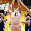 Providence sophomore Lillian Hughes puts up a shot against New Washington Tuesday night. Staff photo by C.E. Branham