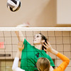 Floyd Central junior Sydney Engle rises up to hit the ball during the first set of the championship match of the Hoosier Hills Conference volleyball tournament at Floyd Central on Saturday. Columbus East won the match in 2 sets, 26-24, 25-22. Staff photo by Christopher Fryer
