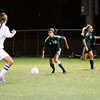 Floyd Central forward Lauren Wyatt moves the ball down field during their game at Providence on Tuesday. Floyd Central won the game 3-1. Staff photo by Christopher Fryer