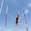 Floyd Central High School sophomore Rachael Kavgazoff clears the bar during the girls pole vaulting competition at the Inferno Classic Track and Field Invitational at Jeffersonville High School on Saturday afternoon. Kavgazoff placed first with a vault of 10 feet 6 inches. Staff photo by Christopher Fryer