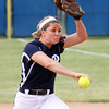 Providence pitcher Meredith Endris delivering a pitch in the Pioneers' 14-4 2A regional championship over Switzerland County on Tuesday. Staff photo by C.E. Branham