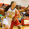 Floyd Central forward Madison Kaiser drives to the basket during their game against Jeffersonville in the New Albany sectional tournament on Tuesday. Floyd Central won the game 62-48. Staff photo by Christopher Fryer