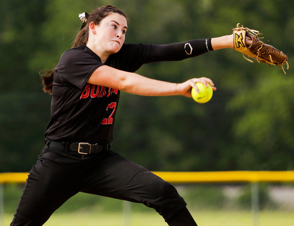 Borden's Paige Schindler pitches during the Braves' 1-0 win over New Washington in Borden on Tuesday. Staff photo by Christopher Fryer