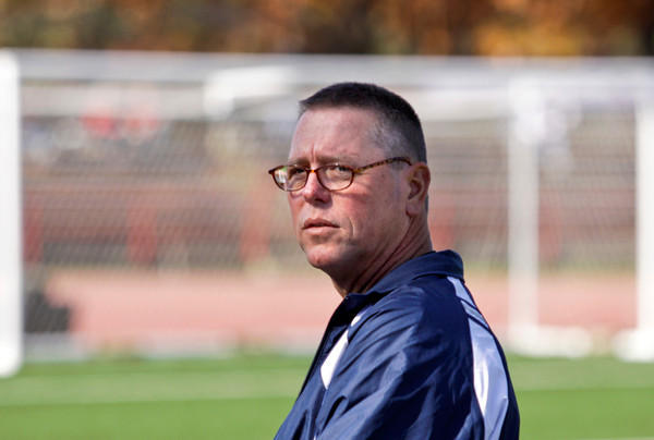 Providence girls head soccer coach Dave Smith stands on the sidelines during their Class A state championship match against Mishawaka Marian in Indianapolis on Saturday. Staff photo by Christopher Fryer