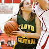Floyd Central forward Tori Kingsley drives to the basket during their championship game against Bedford North Lawrence in the New Albany sectional tournament on Saturday. Bedford North Lawrence won the game, 54-34. Staff photo by Christopher Fryer