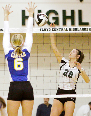 Floyd Central senior Tierney Flaherty goes up for a shot during their match against Castle in the Floyd Central Regional on Tuesday. The Highlanders took the match in four games, 21-25, 25-15, 25-16, 25-21. Staff photo by Christopher Fryer