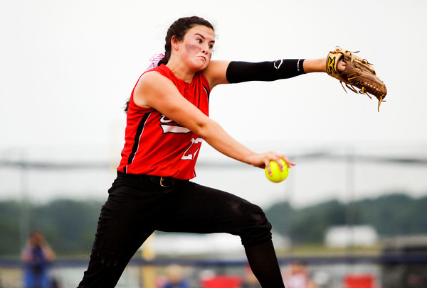 Borden freshman Paige Schindler pitches during the Braves' 3-0 loss at the West Washington Regional on Wednesday. Staff photo by Christopher Fryer