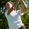 Providence's Morgan Boone tees off on the fourth hole during the Indiana High School Athletic Association Girls Sectional golf tournament at Valley View Golf Club on Saturday. Staff photo by Christopher Fryer
