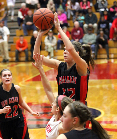 New Albany freshman Jenna Shine shoots against Jeff Friday night.  Staff photo by C.E. Branham
