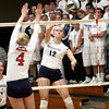 Providence freshman outside hitter Jacquie Hornung delivers kill against Southwestern in the 2A Regional final Tuesday night at Providence. Staff photo by C.E. Branham