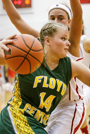 Floyd Central guard Brooke Hinton drives to the basket during their championship game against Bedford North Lawrence in the New Albany sectional tournament on Saturday. Bedford North Lawrence won the game, 54-34. Staff photo by Christopher Fryer