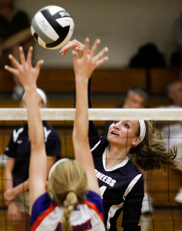 Providence High School sophomore Haley Libs drives the ball past Silver Creek High School during their match on Wednesday evening at Providence. Providence won the match in the first three sets. Staff photo by Christopher Fryer