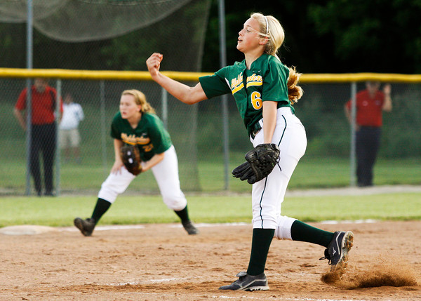 Floyd Central High School's Morgan Harper pitches during their game against Bedford North Lawrence High School in the Hoosier Hills Conference Softball Tournament at Floyd Central on Friday night. Floyd Central won the game in extra innings, 2-1. Staff photo by Christopher Fryer