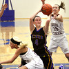 Christian academy of Indiana sophomore Alli Burch and South Central player Maddison O'Connor battle for the ball on opening night of 1A Sectional play at New Washington. Staff photo by C.E. Branham