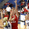 Jeffersonville junior Haley Vogen tosses in two of her 12 first half points at Charlestown Thursday night. Staff photo by C.E. Branham