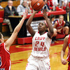 Jeffersonville guard Aurreeshae Hines puts up a runner in the lane against Bedford North Lawrence on Saturday night. Staff photo by C.E. Branham
