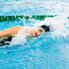 Floyd Central senior Jessica Pinnick competes in the 100-yard freestyle during the Highlanders' meet against Jeffersonville at Highland Hills Middle School on Thursday. Pinnick finished in fifth place. Staff photo by Christopher Fryer