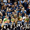 Providence fans cheer for the Pioneers as they receive their runner-up awards after their Class 2A state championship loss to Wapahani at Worthen Arena in Muncie on Saturday. Staff photo by Christopher Fryer