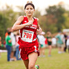 Jeffersonville's Josey Noel approaches the finish line during the Hoosier Hills Conference cross country meet at Prosser on Saturday morning. Noel finished 31st in the race. Staff photo by Christopher Fryer