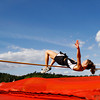 Henryville senior Allison Knox clears the bar during the high jump competition at the Southern Athletic Conference Track Meet in Borden on Thursday afternoon. Staff photo by Christopher Fryer