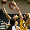 Floyd Central forward Madison Kaiser lays in two against Scottsburg Thursday night. Staff photo by C.E. branham