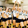 Floyd Central celebrates following their victory over Castle in the Floyd Central Regional on Tuesday. The Highlanders took the match in four games, 21-25, 25-15, 25-16, 25-21. Staff photo by Christopher Fryer