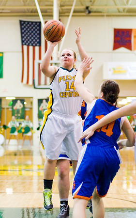 Floyd Central senior Brooke Hinton goes up for a shot during the Highlanders' home game against Silver Creek on Thursday. Staff photo by Christopher Fryer
