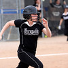 Clarksville batter Meghan Hall wheels to first after hitting a single against Silver Creek Tuesday afternoon. Staff photo by C.E. Branham