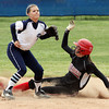 New Albany player Sidney Rudy steals second against Providence Tuesday afternoon. Staff photo by C.E. Branham