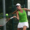 Floyd Central sophomore Dana Frank playing No. 3 singles in the Regional final. Staff photo by C.E. Branham